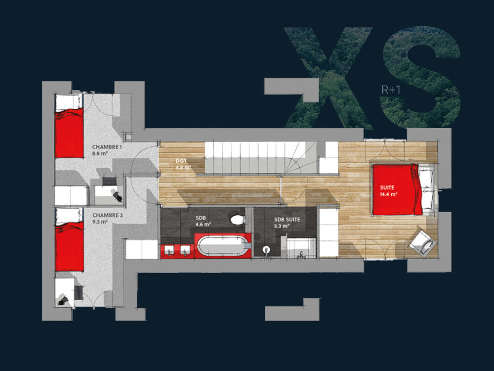 Plan de la Villa XS R+1 V2 (Étage)