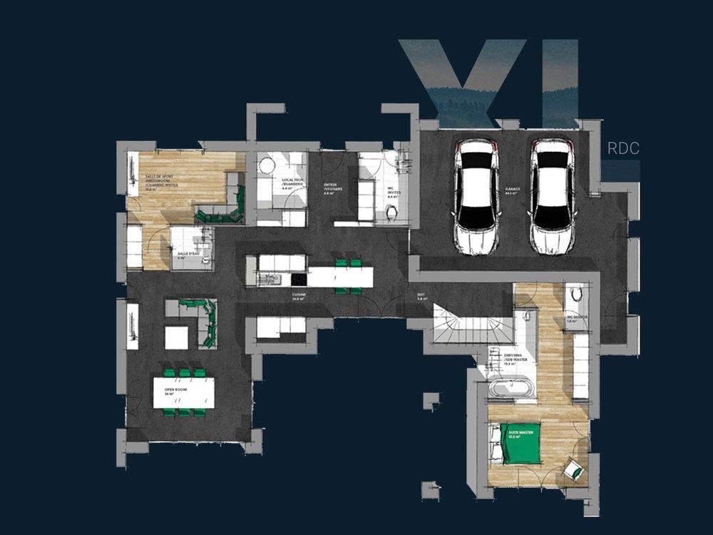 Plan de la Villa XL R+1 V2 (RDC)