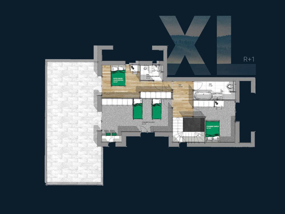 Plan de la Villa XL R+1 V2 (Étage)