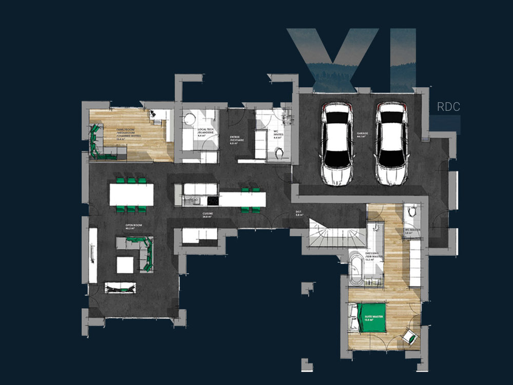 Plan de la Villa XL R+1 V1 (RDC)
