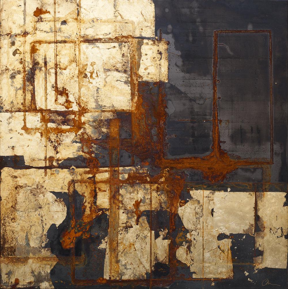 Seep   Black Steel, gold leaf &sea water 110 x 110 cm  SOLD