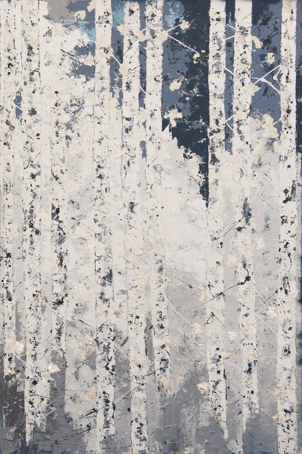 Winter Stillness  Canvas, oil & silver leaf 130x195cm   AVAILABLE FOR PRIVATE VIEW