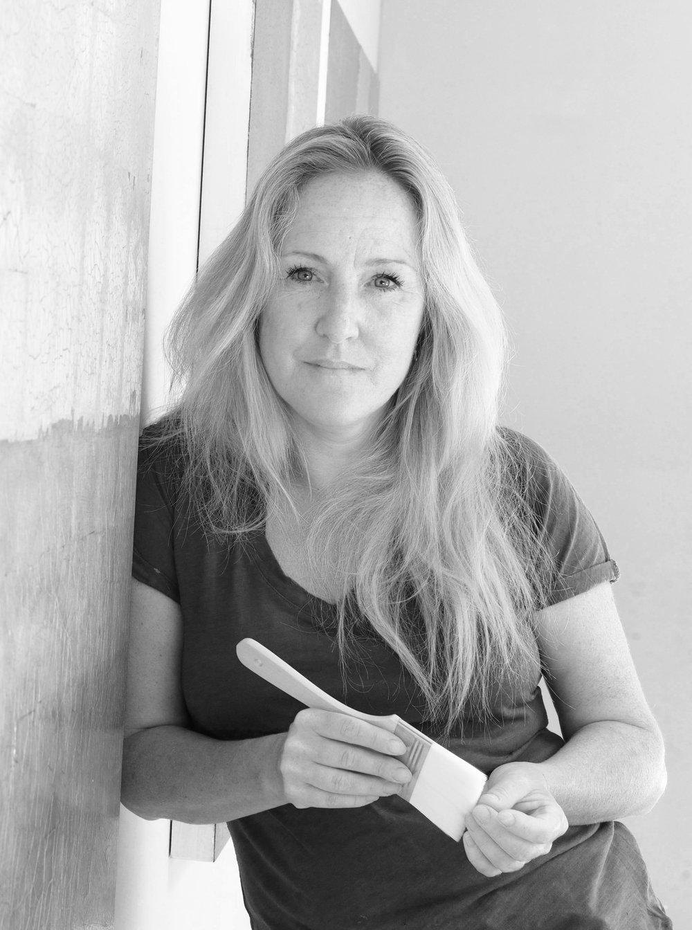 Artist Claire Burke in her Surrey studio in the UK