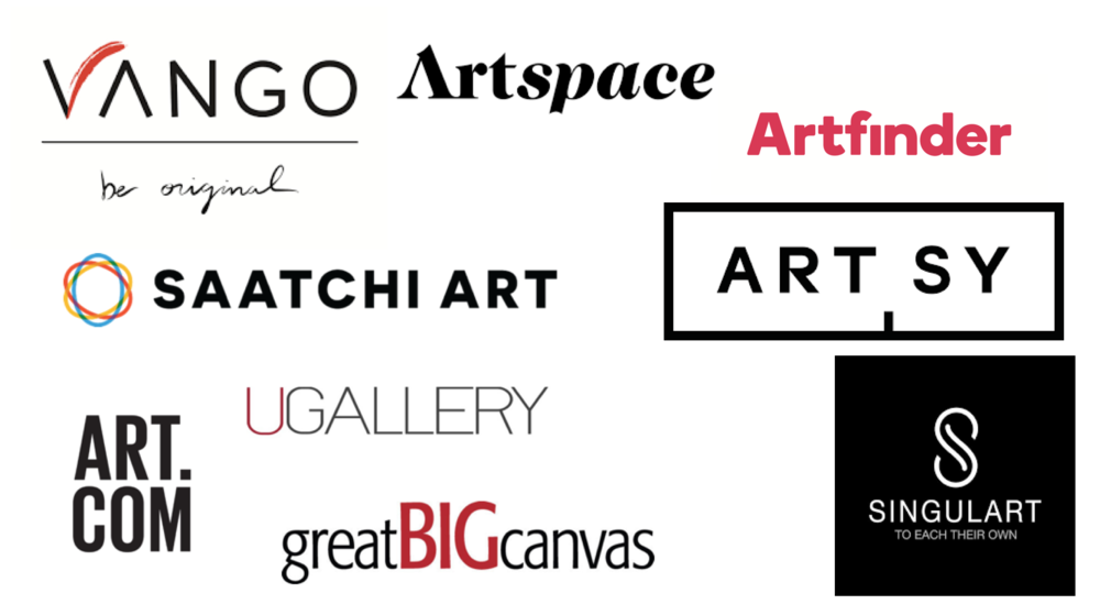 Some of the international online gallery players available to artists and art buyers