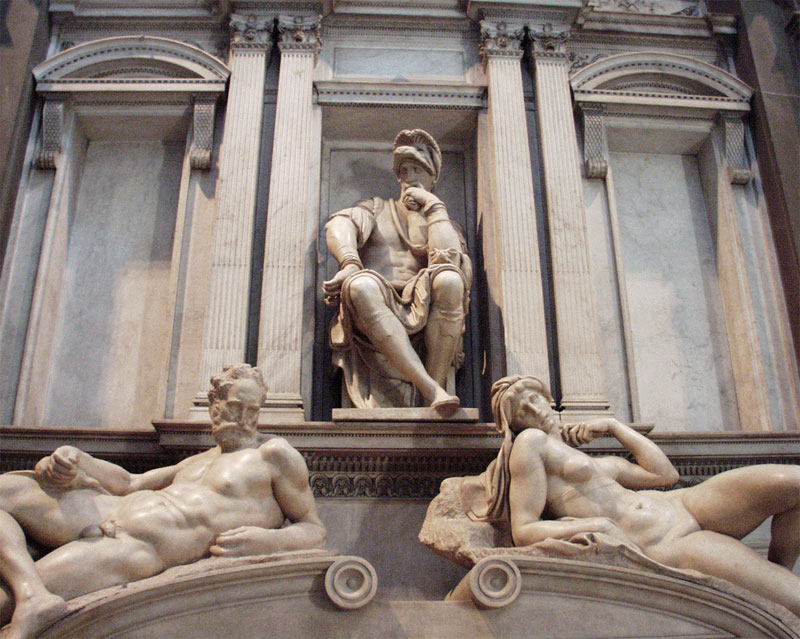 The monumental sculpture by Michelangelo in the Medici chapel at the Church of San Lorenzo