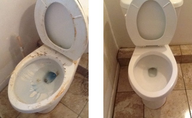 Toilet, before and after.