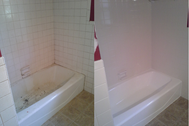 A tough job, but we got it done! Before and after tub!