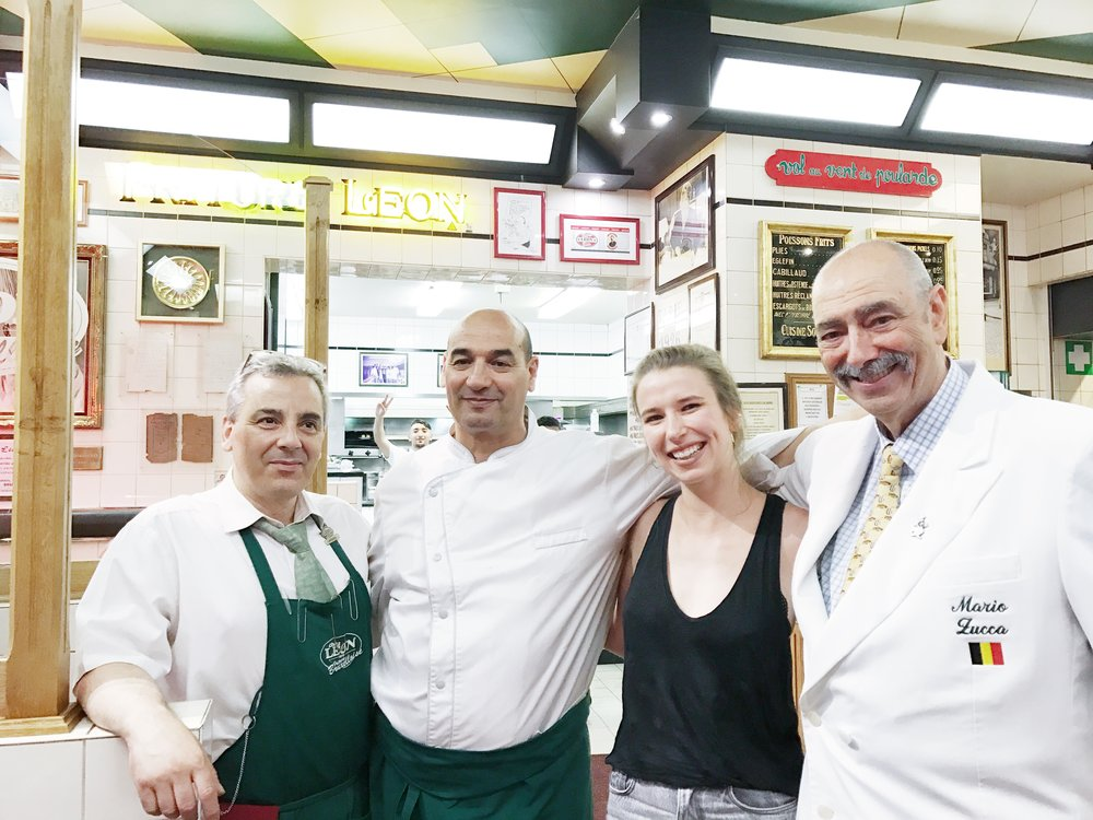 Our lovely waiter, one of the chefs, me and Mario Zucca. The latter has been there for over 50 years, welcoming people into the restaurant.