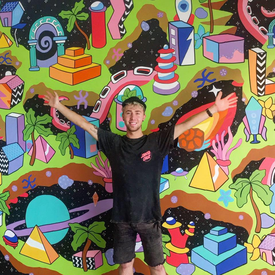 Azz with his first mural of 2017 ' Skyworld ' at Aldinga Library