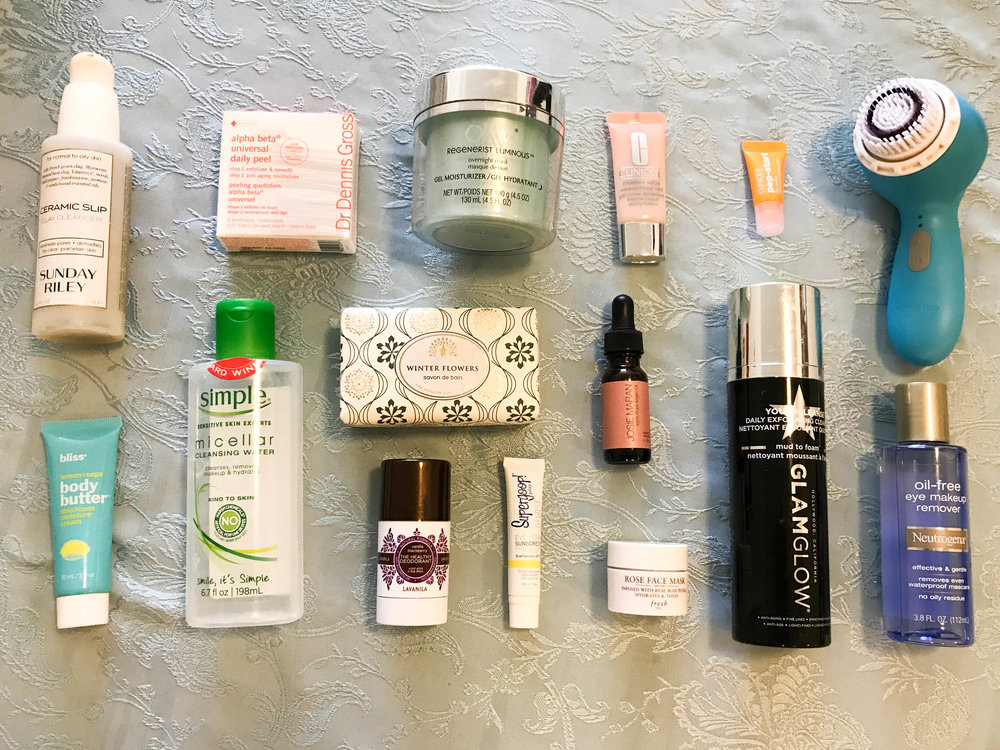 Skincare: 5 products to clean face, 2 masks, 3 to moisturize, soap, deodorant, sunscreen