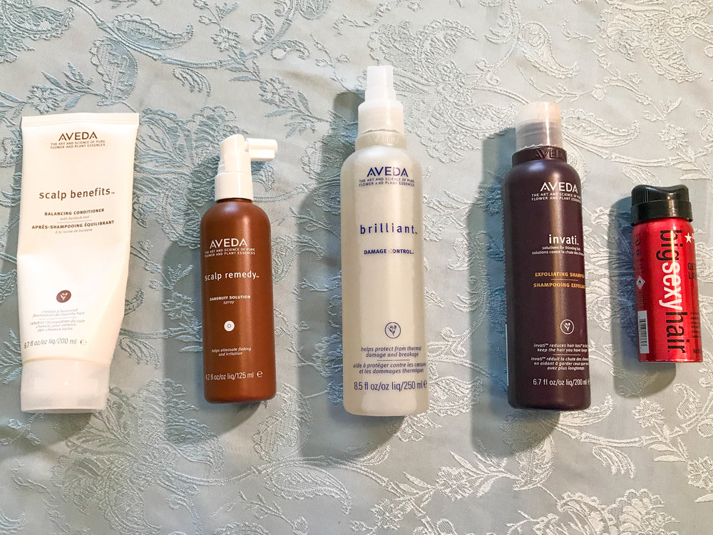 Hair products: shampoo and conditioner, hairspray, detangle spray, and heat protectant
