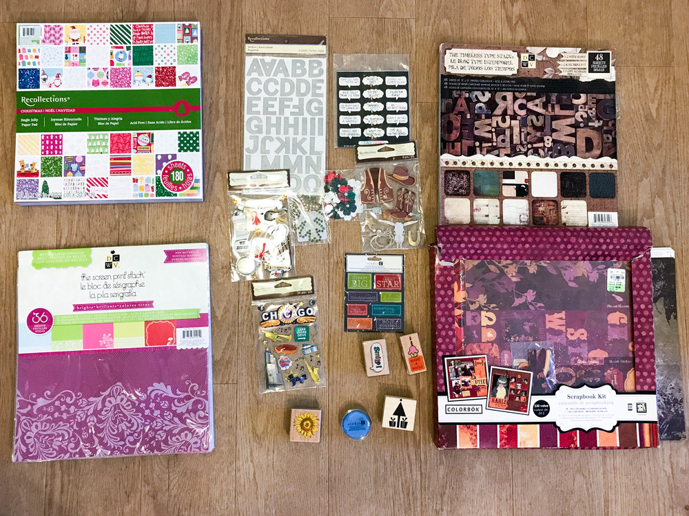 Scrapbooking: Everything here except 3 items were brand new. I sold all this for $60.