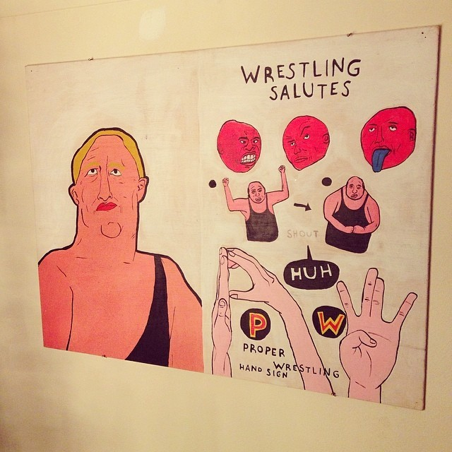 Seriously regretting not acquiring one of your wrestler paintings when we were at uni, Gaz @tombstone_press.  www.garethbarnett.co.uk
