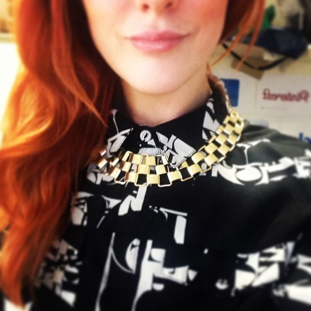 I got sent a great little @NewLookFashion party pack, so decided to add some sparkle to todays office outfit. Loving this gold sleek link chain, a complete statement  necklace  steal at £7.99. Thank you lovely peeps.