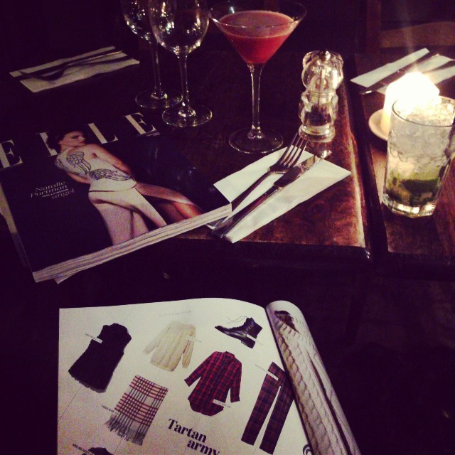 Friday night cocktails @_thebotanistkew with the new November issue of @ELLEUK on my lap waiting for @jmgcreative to arrive. A blogger must do her homework. Bliss.