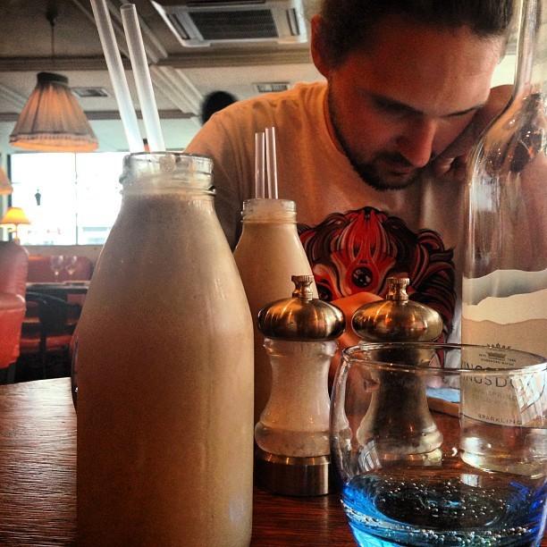Enjoying a hardshake @RidingHouseCafe with @jmgcreative.
