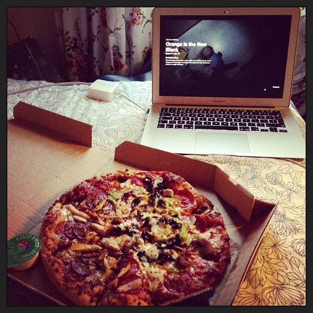 Lovely girlfriend eats pizza bought using boyfriend's PayPal. How sweet! Haha! Flippin' love you @jmgcreative. Xx #dominos