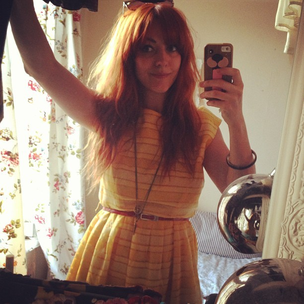 Sunshine yellow. A lovely little summer dress my manager gave me.