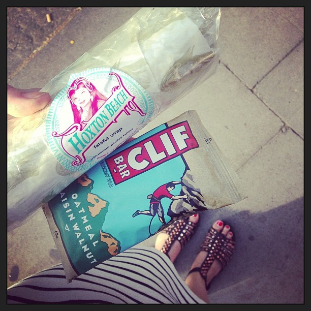 Just popped into @AsNatIntended. Bought a @ClifBar and a @HoxtonBeach falafel wrap to eat pre-yoga sesh. Not tried either of them before…
