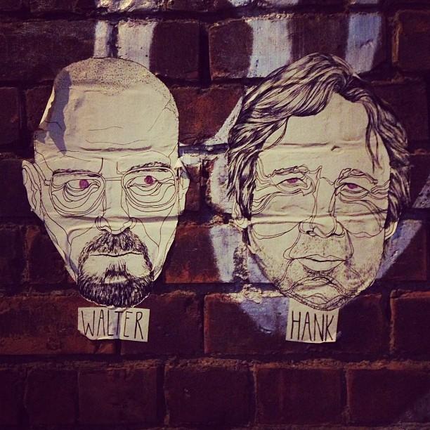 Mega Breaking Bad // Californication geek out in East London. @jmgcreative #streetart #art #illustration #eastlondon