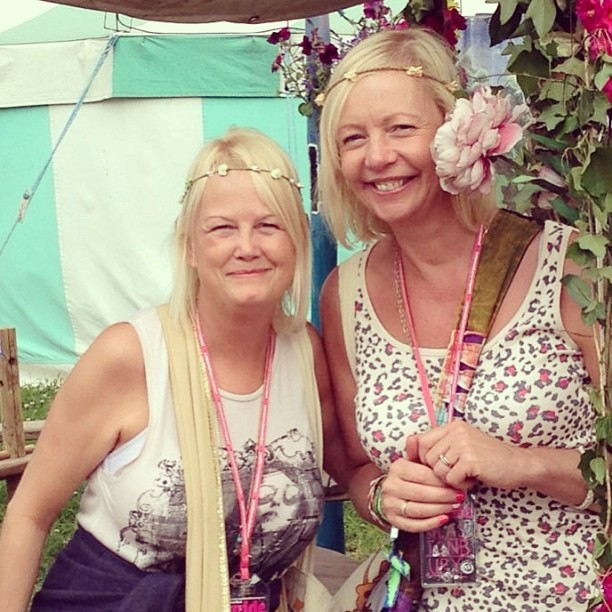 Flower power @GlastoFest! Looking good ladies @jolloyd19! Well mum, you'd never believe you had a 27 year old daughter (at home!!) Haha! Looks amazing.