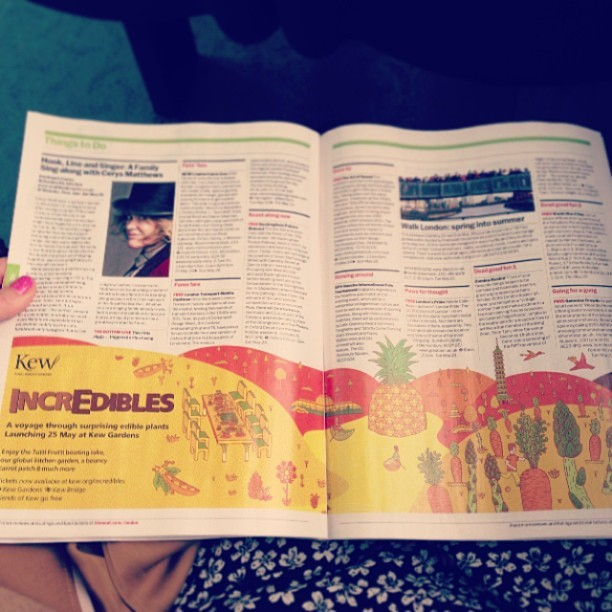 Loving the #IncrEdibles @kewgardens illustrated advert in @timeoutlondon @timeoutart. Visit kew.org/IncrEdibles for more details about the Tutti Frutti boating lake, global kitchen garden and bouncy carrot patch launching 25th May.