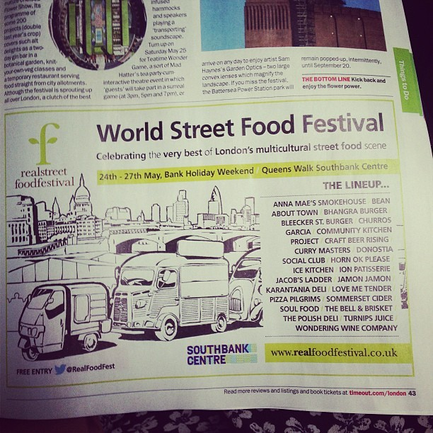 Ooh! This @realfoodfest @southbankcentre ad in @timeoutlondon is making my tummy rumble! If I wasn't away for the weekend I'd be there stuffing my face in a flash!!! #FreeEntry #Food  www.realfoodfestival.co.uk  #London