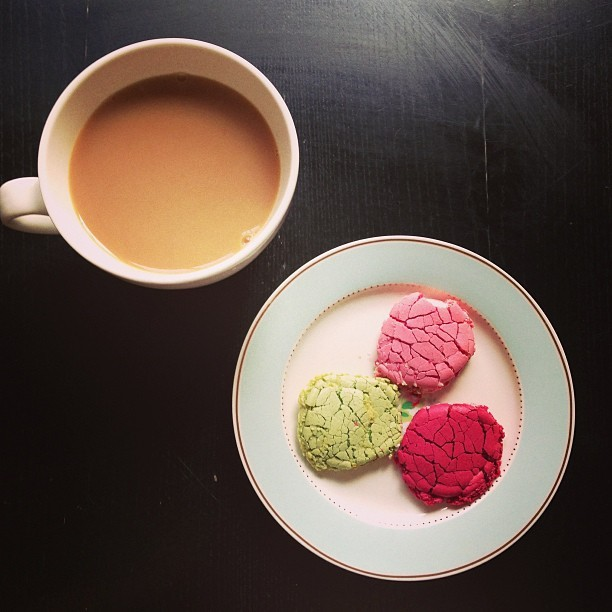 Whoops! Smashed pistachio, red berry and rose flavoured Laduree macaroons with a cup of tea.
