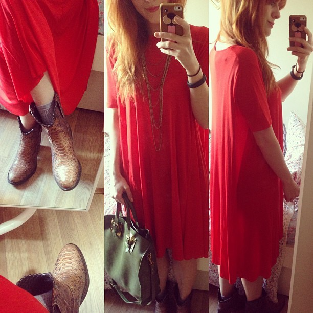 #todayimwearing my:    new @cosstores  red caped jersey dress    @ybdfashion  @sophie_hulme green tote    @lamapeach  python Jenson boots      accessorised with a long gold necklace from Primark.