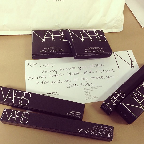 Ooh thank you, NARS! Just received a @NARSissist haul! I am a lucky lady. I feel a make-up review is on the cards… Keep your eyes peeled for my NARS posts over the next week on  www.lucieloves.co.uk !