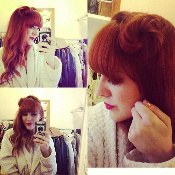 My attempt at doing vintage pin-up hair. A swirly @fearnecotton style half-up-half-down side bun.