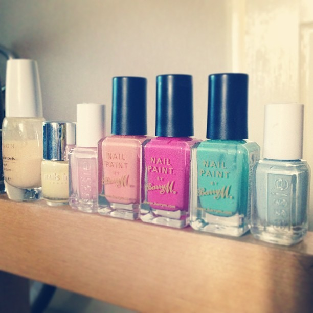 SS13 pastel nail colour options from @OPINAILS @avon_uk @nailsinc @essie @BarryMCosmetics.     Sugary sweet shades include:     French manicure cream     Sumner place yellow     Better together pale pink     Peach melba     Bright pink     Mint green      Borrowed and blue.