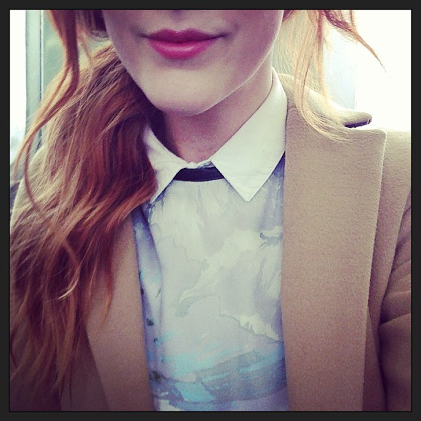 #todayimwearing My @ybdfashion @ANTIPODIUM Teesdale dress layered over a @topshop white shirt with #Dior addict coral pink lips. #Fashion #style #blogger #whattowear #inspiration #photo #me #girl #redhead #hair #print #fblogger #clothes #ootd #wiwt #instapic #outfit #whatiwore #igdaily #london #fashiondiaries #instafashion #instamood #ss13 #workstyle #officewear
