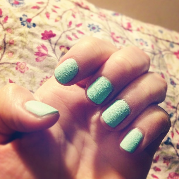 My friend Laura @tunnelout let me try her new Barry M textured nail effects nail paint in #tnp4 mint green. It's a bit like sandpaper… #triedandtested #nailart #barrymcosmetics #girl #ss13 #bbloggers #beauty