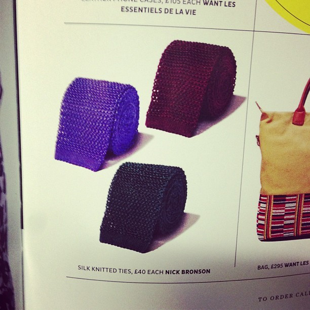 Silk knitted ties by Nick Bronson. #sawthisandthoughtofyou @marcosdot spotted in MODE Shortlist magazine.