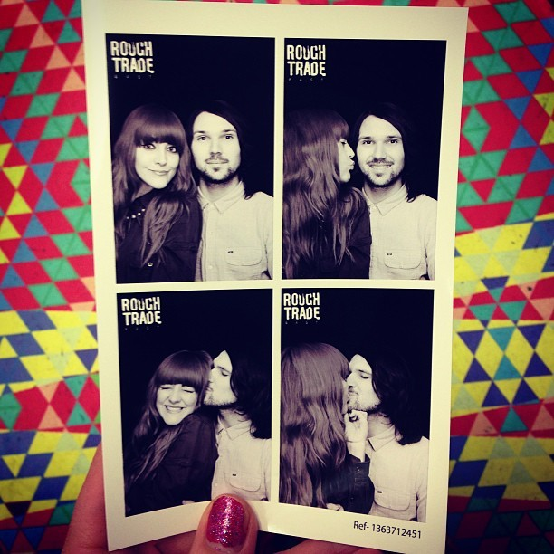 Playing around in the photobooth with @jmgcreative @roughtraderecs, off Brick Lane, London.