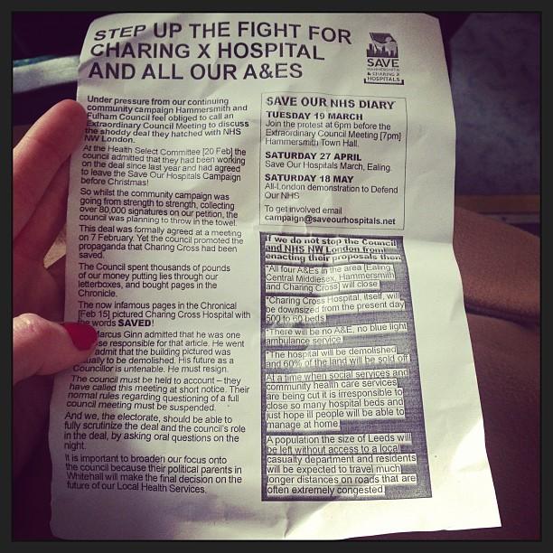 #SaveOurHospitals #HammersmithandFulham #CharingCrossHospital