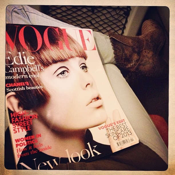 My company for the duration of the journey up north to visit family. @BritishVogue #April issue. Swotting up on new season trends. #vogue #uk #magazine #fashion #instafashion #style #ss13 #inspiration #fringe #ediecampbell