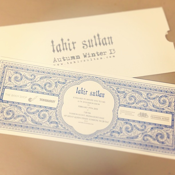 My ticket to @TahirSultan has arrived for tomorrow's #LFW  show! Thank you @KatchLondon @wolfwhistle #excited #event #london #fashionweek #designer #aw13 #bestoftheday