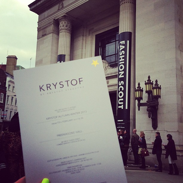 Queuing up for the @krystofstrozyna AW13 show at LFW.