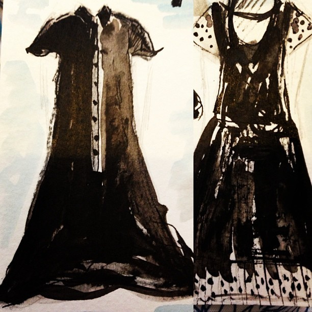 A couple of the @KellyShawLondon @ybdfashion dresses from #AW13 lookbook. #occupy #lfw #drawing #illustration #Pierrot #Clown #indianink #watercolour #graphite #charcoal #riotingclown