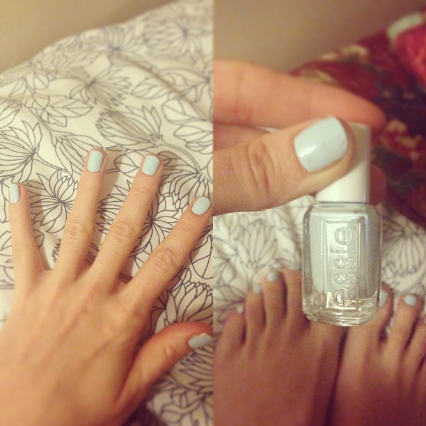 Having a hair and nails night. I love this @essie #BorrowedandBlue shade from their Wedding Collection. Love is in the air but no weddings bells as of yet… 😜 #ss13 #babyblue #beauty #triedandtested #whattowear #manicam #lucieloves #instapic #girl #trend #bestoftheday