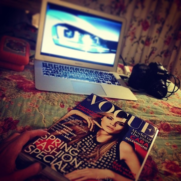 New season = new @britishvogue. My first magazine from my subscription was here to greet me when I got home! Yessss! #fashionblogger #style #ss13 #inspiration #caradelevigne #beauty #marchedition #vogue