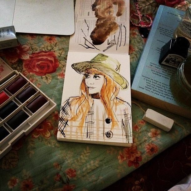 Playing around with paints. A little watercolour & Indian ink self-portrait.