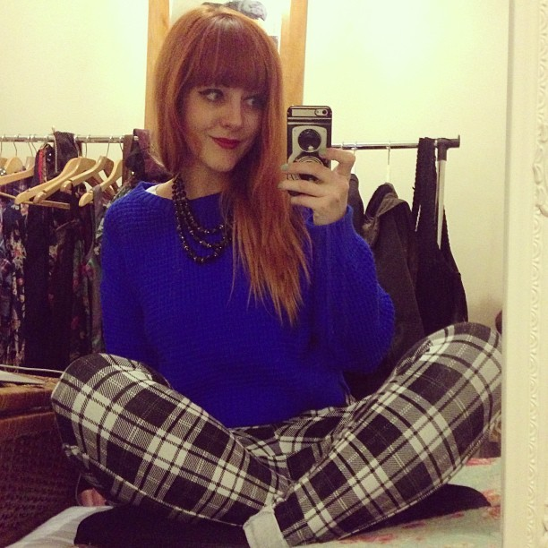 I'm glad I bought this jumper + my new check trousers. @Topshop always brightens up my day!
