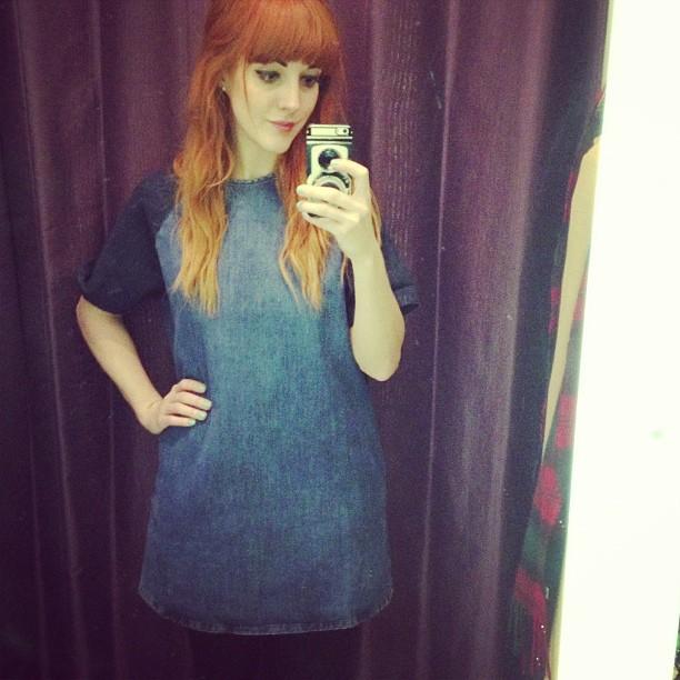 Help! #tobuyornottobuy this @topshop moto contrast sleeve denim shift dress?