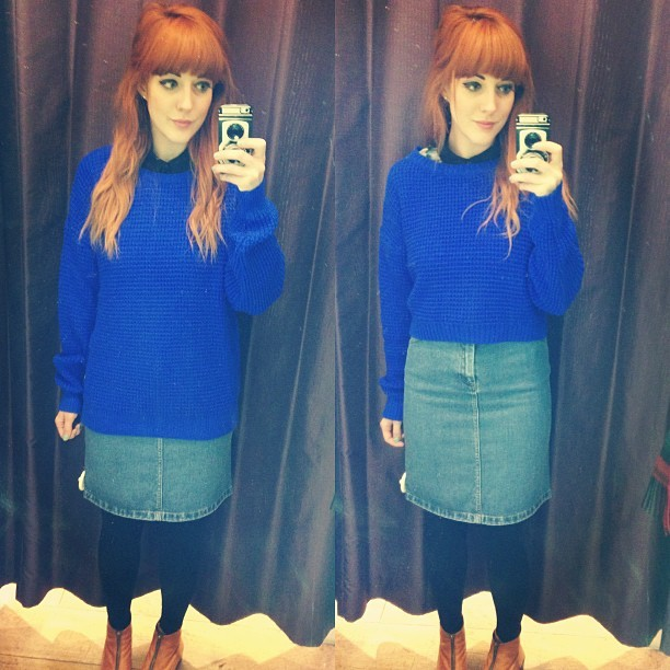Ok peeps! To buy or not to buy… Short or long @topshop knitted textured crop jumper in electric? And do you like this denim skirt?? Update: I BOUGHT IT! The cropped version.