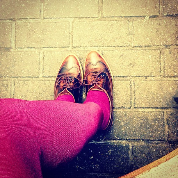 It's a @mywardrobe @kurt_geiger brogue day. #todayimwearing my KG Lambert Chocolate leather lace-ups with magenta tights and socks, a tweed mini skirt, camel knitted cardigan, denim studded collar shirt and camel Next coat.