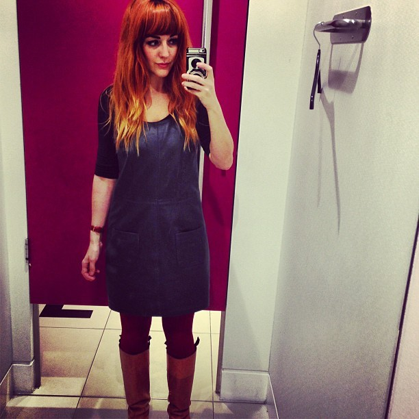 Finally get round to getting my mits on a @topshop #Boutique navy leather pinafore and they've only got a size 10 left! (I'm usually a 10 but this feels too big @sophieolearysmith - arghhhhh! Help! They got no 8's 😿😿😿😿) #fateorjustbadluck #fashion #style #blogger #whattowear #inspiration #photo #me #girl #redhead #hair #print #fblogger #clothes #ootd #wiwt #instapic #outfit #whatiwore #igdaily #london #fashiondiaries #aw12 #instafashion #igers #igerslondon