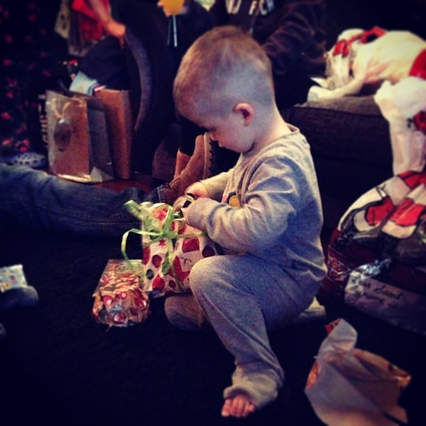 Best Christmas morning ever watching my little nephew open his presents off Santa. He *discarded the clothing related gifts in favour of his LeapPad2 & MASSIVE transporter truck! (*Not quite following in his aunties footsteps for his clothing obsession…) #christmas #family #nephew #kids #toys #christmasmorning #presents #bestoftheday #home